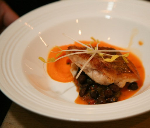 Red Snapper with Cumin-Scented Carrot Purée, Tuscan Chickpeas, and Saffron Acqua Pazza